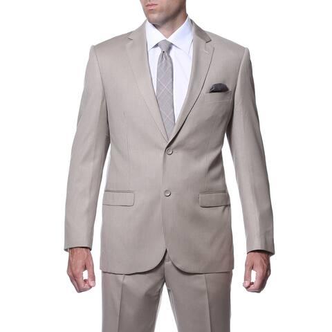 Ferrecci Men's Slim Fit Tan Striped Tone on Tone 2-piece Suit