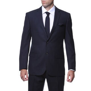 Ferrecci Men's Slim Fit Navy Plaid Tone on Tone 2-piece Suit