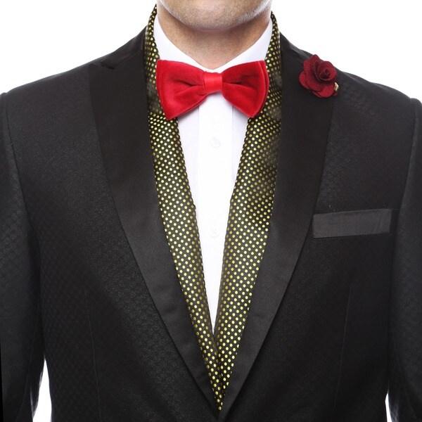 Ferrecci Mens Luxury Gold Satine Polka-dot Formal Evening Scarf