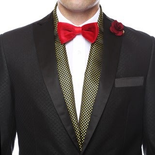 Ferrecci Men's Luxury Gold Satine Polka-dot Formal Evening Scarf