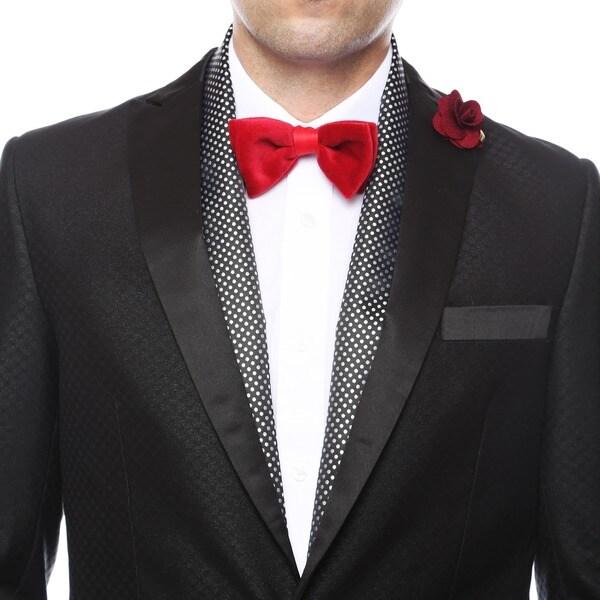 Shop Ferrecci Men S Luxury Black Silver Satine Polka Dot