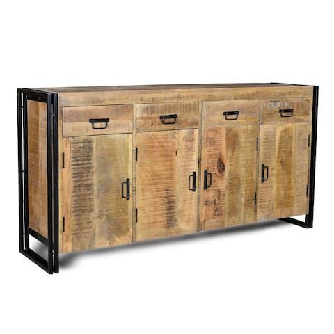 "Handmade Industrial Reclaimed Wood and Iron Sideboard (India) - 35"" x 71"" x 18"""