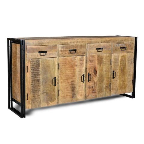 Handmade Industrial Reclaimed Wood and Iron Sideboard (India)