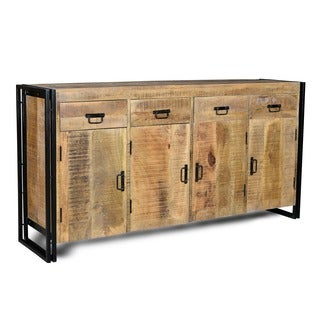 Handmade Industrial Reclaimed Wood and Iron Sideboard (India)