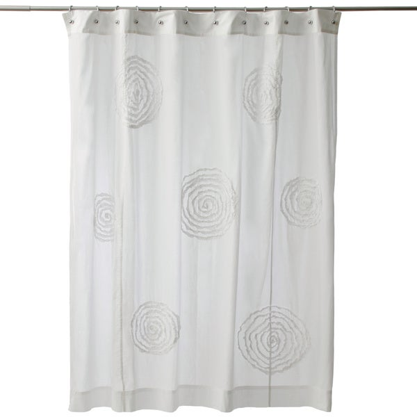 Ruffled Swirls White Cotton Shower Curtain Free Shipping Today
