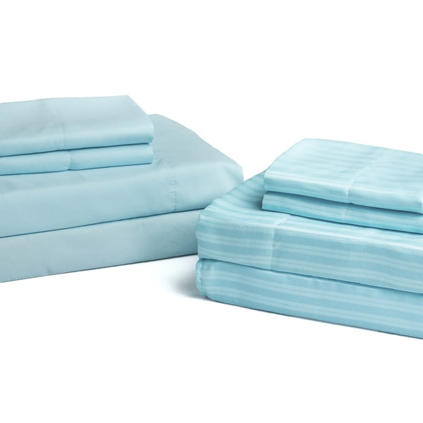 2-pack Microfiber Solid and Striped Sheet Set