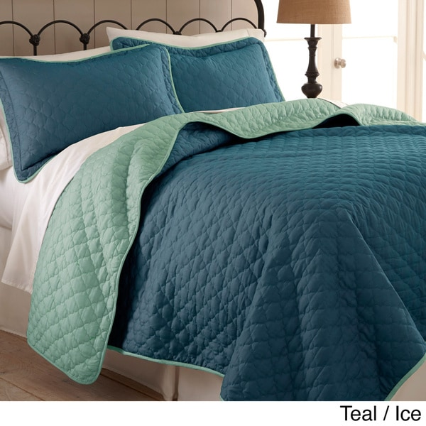 Amraupur Overseas Reversible Two-tone Solid Color 3-piece Coverlet Set