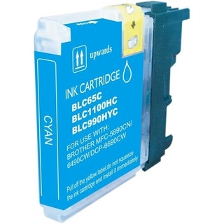 Refilled Insten Cyan Non-OEM Ink Cartridge Replacement for Brother LC65C