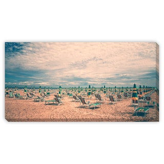 Gallery Direct Robson Photo 'Vintage Beach with Deckchairs' Gallery Wrapped Canvas Art