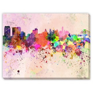 Gallery Direct Paulrommer's 'Philadelphia Skyline in Watercolor' Canvas Gallery Wrap