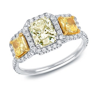 Auriya 14k White Gold 2 1/4ct TDW Certified Radiant Yellow Diamond 3-Stone Halo Engagement Ring