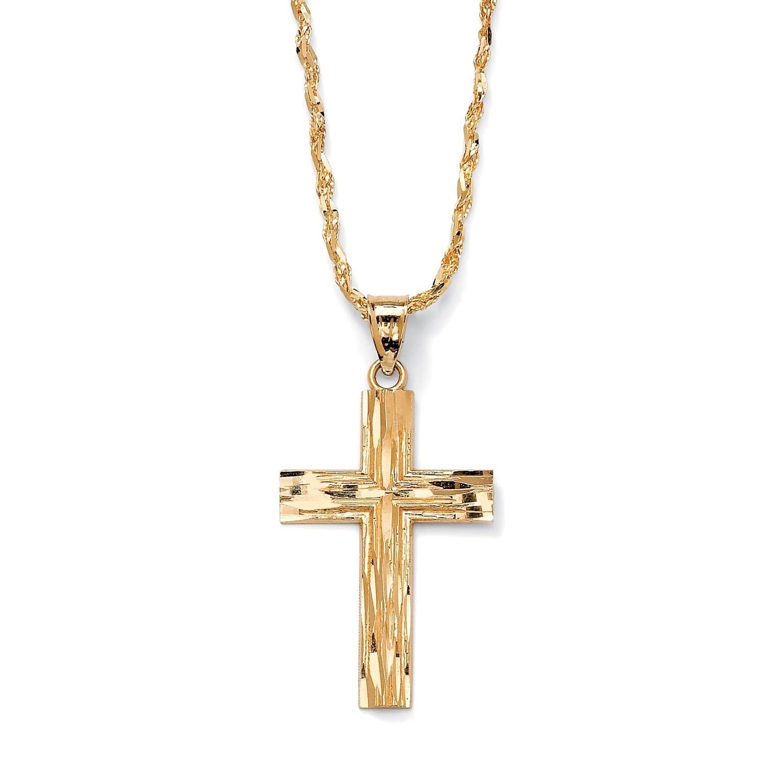 10k Yellow Gold Diamond Cut Polished /& Textured Cross Pendant