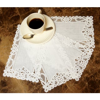 Handmade Emily White Linen and Lace Table Coasters (Set of 4)