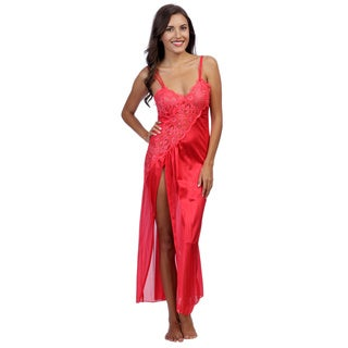 Women's Romance Selections Red Lace Trim Long Gown with Side-slit