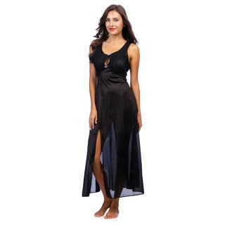 Women's Romance Black Stretch Lace Keyhole Long Gown with Revealing Front Slit