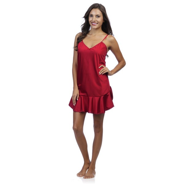 Romance Selections Women's Red Satin Chemise with Lace Trim