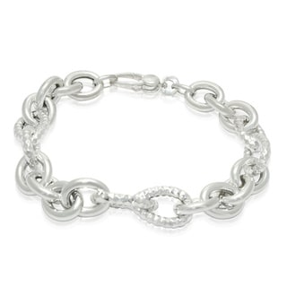 Gioelli Sterling Silver Textured/ Polished Rolo Bracelet