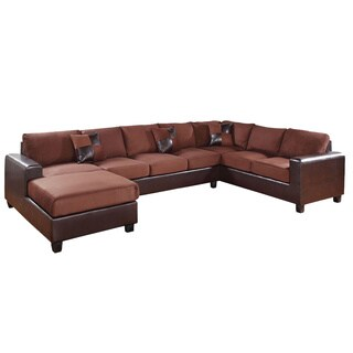 Traun Reversible Chocolate Microfiber Upholstered Sectional Sofa