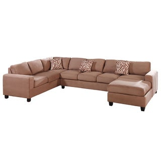 Hallein Saddle Microfiber Upholstered Reversible Sectional Sofa