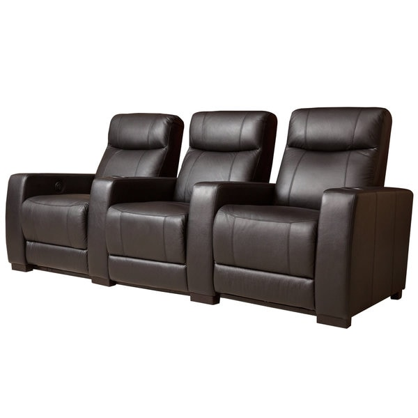 Abbyson Montgomery 3 Piece Top Grain Leather Power Theatre Recliners Free Shipping Today
