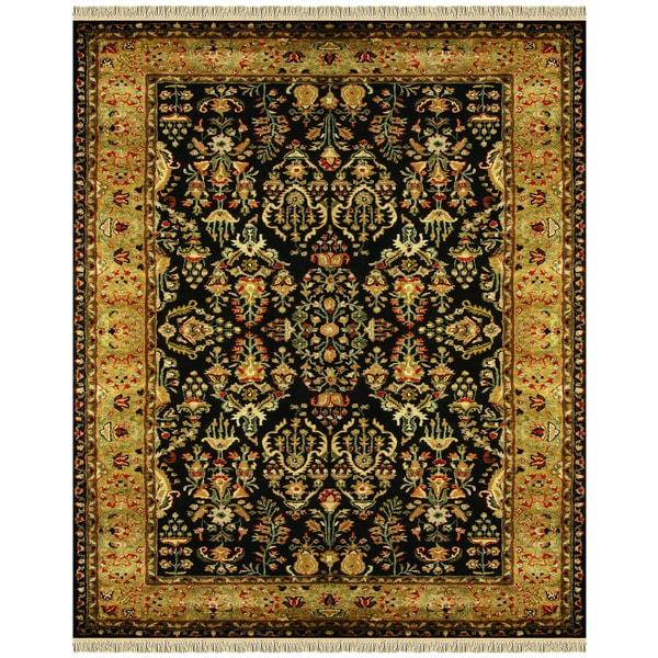 Grand Bazaar Tufted 100-percent Wool Pile Bower Rug in Black/Gold 5' x 8' - 5' x 8'