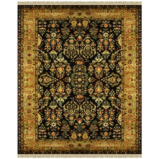 Grand Bazaar Tufted 100-percent Wool Pile Bower Rug in Black/Gold 5' x 8'