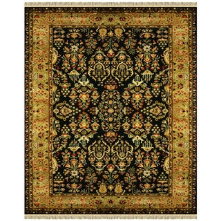 Grand Bazaar Tufted 100-percent Wool Pile Bower Area Rug in Black/ Gold (5' x 8')