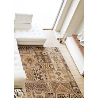 Power-loomed Portico Brown Cream Patchwork Rug (5'3x7'7)