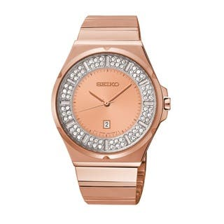 Seiko Women's SXDF74 Rose Goldtone Bracelet Watch Made|https://ak1.ostkcdn.com/images/products/9211874/P16382031.jpg?impolicy=medium