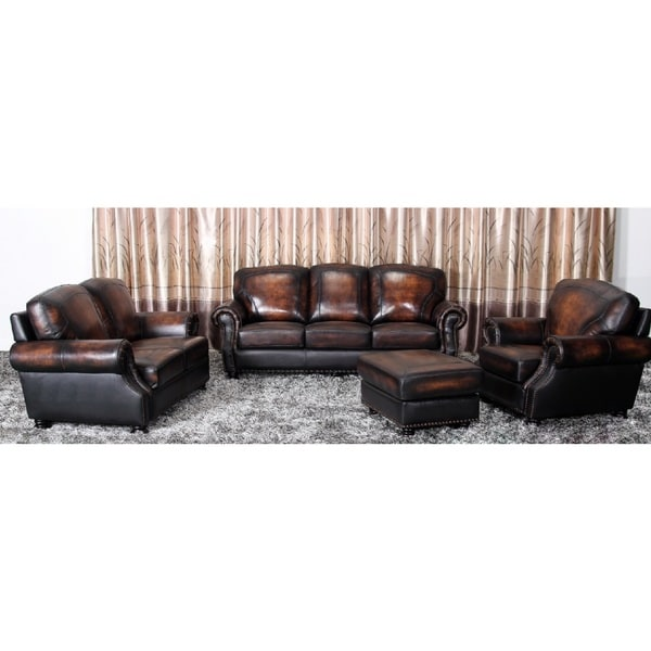 Abbyson living aliyah 4 piece top grain leather living for 4 piece living room set