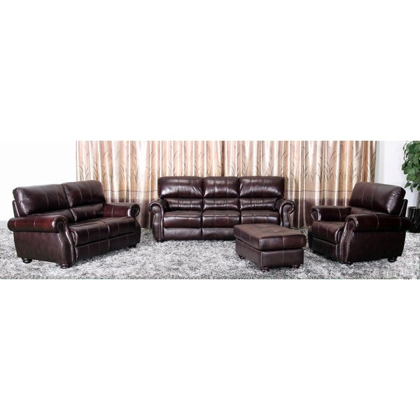 Shop Abbyson Living Cooper 4 Piece Top Grain Leather Living Room Set Free Shipping Today