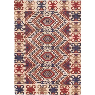 Power-loomed Portico Ivory Red Geometric Rug (5'3 x 7'7)