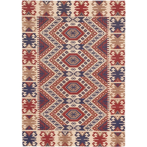 Power-loomed Portico Ivory Red Geometric Rug (5'3 x 7'7) - 5'3 x 7'7
