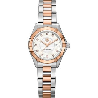 Tag Heuer Women's WAP1451BD0837 Aquaracer 18k Rose Gold Mother of Pearl Dial Stainless Steel Watch