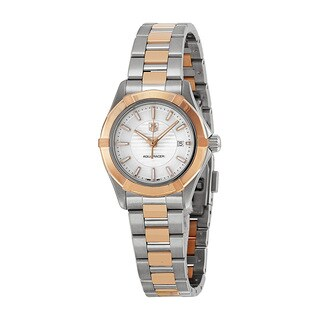 Tag Heuer Women's WAP1450BD0837 Aquaracer White Dial 18kt Rose Gold Stainless Steel Watch
