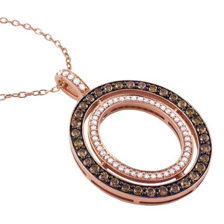Beverly Hills Charm 14k Rose Gold 1ct TDW Brown and White Diamond Circle Necklace