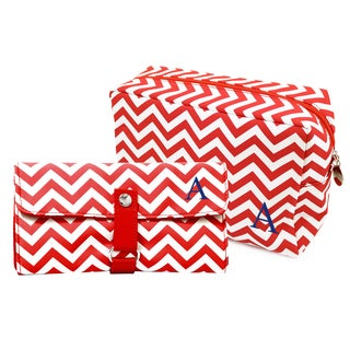 Personalized Red Chevron 6-piece Spa Bag and Makeup Roll Brush Set