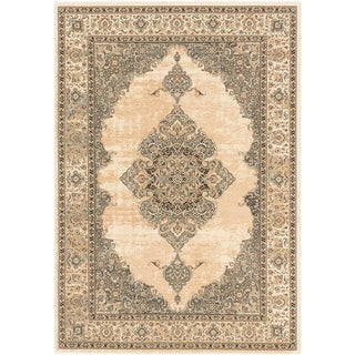 Shahrzad Kerman Beige/ Cream Medallion Corners Rug - 3'11 x 5'3