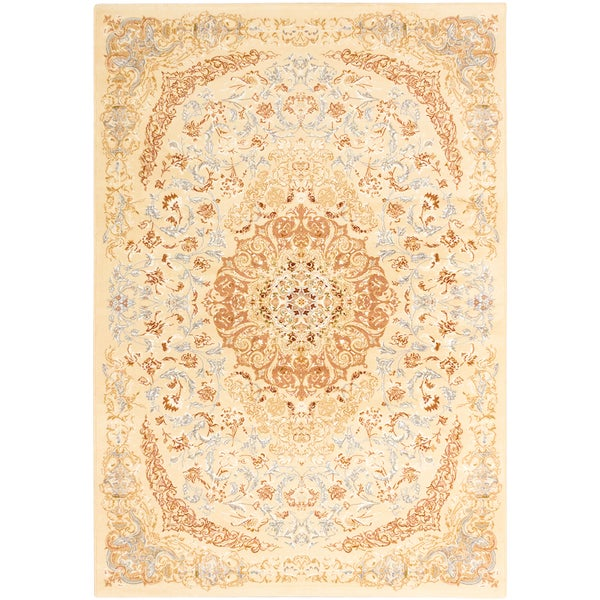 Persia Tabriz Ivory/ Copper Medallion Area Rug (5'3 x 7'7)
