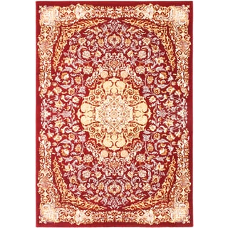 Persia Tabriz Dark Red/ Camel Medallion Area Rug (3'11 x 5'3)