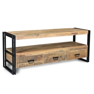 Handmade Industrial Wood and Iron 3-Drawer TV Console (India)