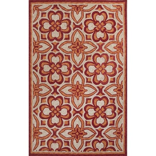Handmade Geometric Pattern Red/ Orange Polyester Area Rug (7'6x9'6)