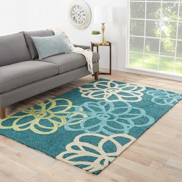 Shop Auden Indoor Outdoor Floral Teal Green Area Rug 7