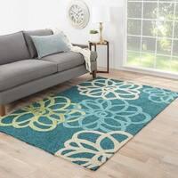 Auden Indoor/ Outdoor Floral Teal/ Green Area Rug - 5' x 7'6