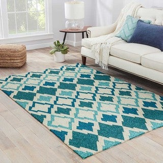 Southwestern/Tribal Pattern blue/ Ivory Polyester Area Rug (2'x3')