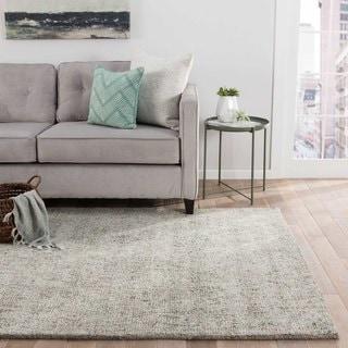 Kensington Handmade Solid Gray/ Light Blue Area Rug (8' x 10')