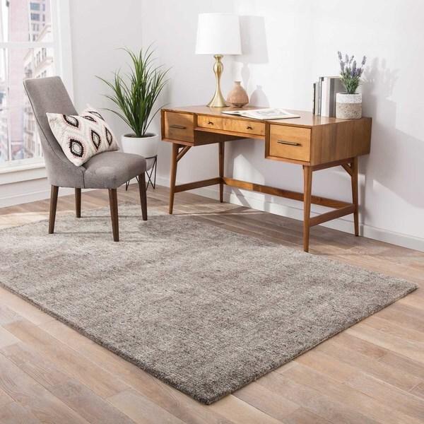 Kensington Handmade Solid Gray/ Taupe Area Rug - 8' x 10'