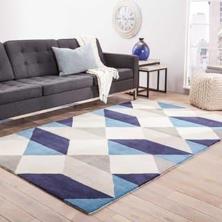 Quixote Handmade Geometric Blue Gray Area Rug 8 X 11