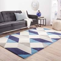 Quixote Handmade Geometric Blue/ Gray Area Rug (5' X 8')