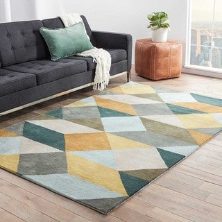 Hand Tufted Geometric Pattern Grey/ Gold Wool Area Rug (8'x11')